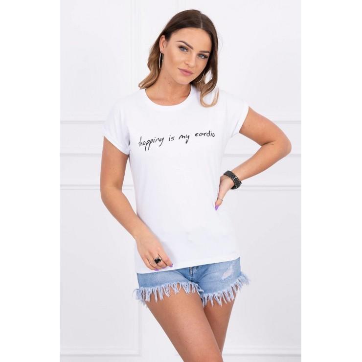 Women T-shirt SHOPPING IS MY CARDIO white