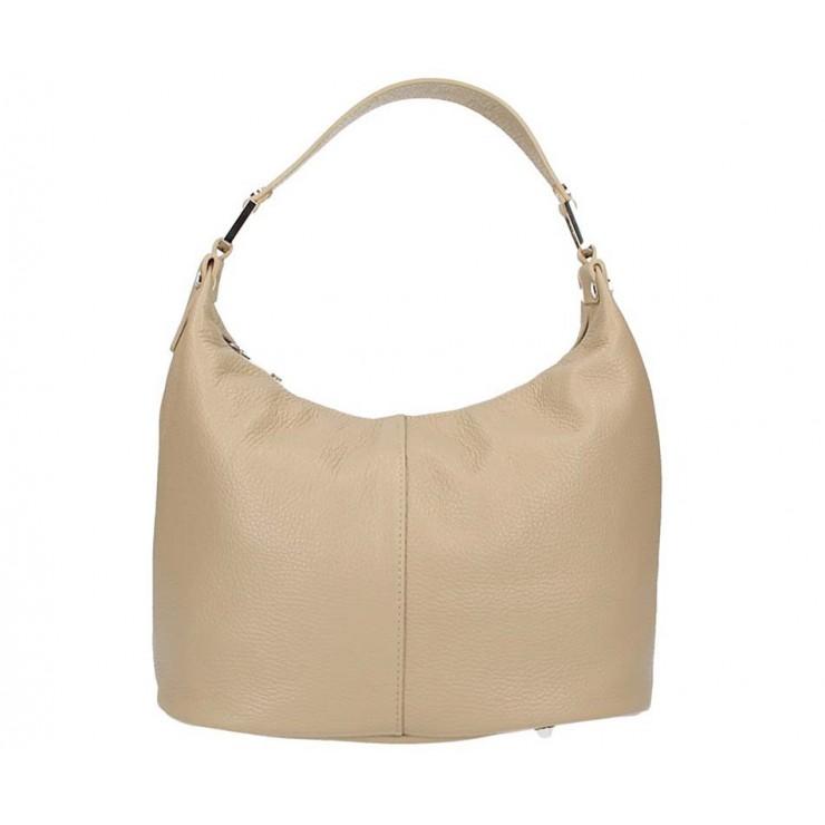 Šedohnedá kožená kabelka na rameno 9011
