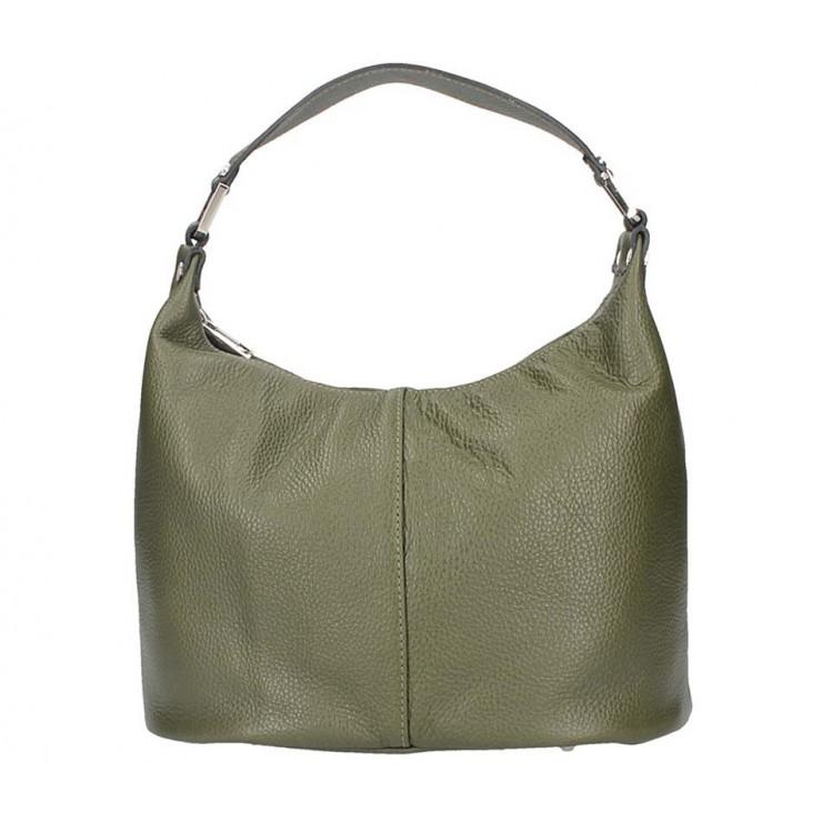 Tmavozelená kožená kabelka na rameno 9011