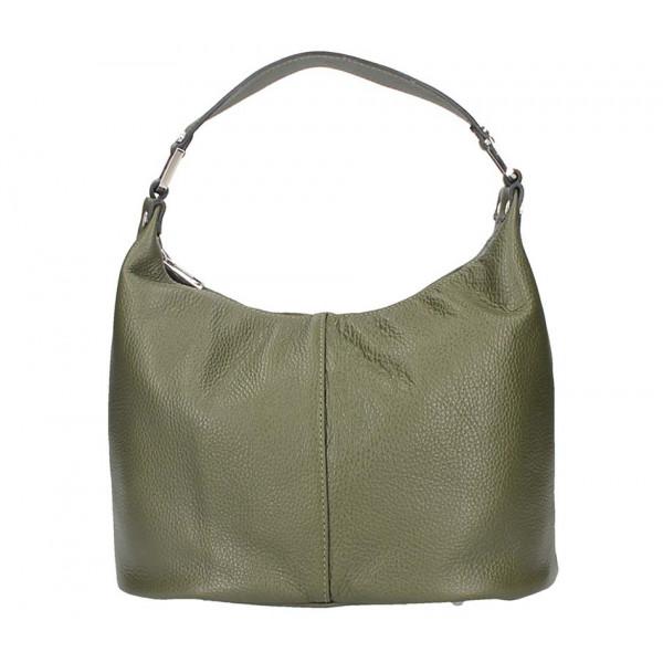 Tmavozelená kožená kabelka na rameno 922 Made in Italy