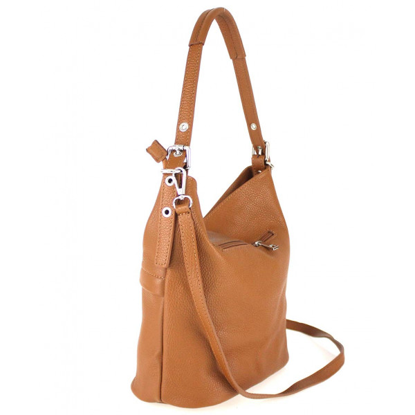 Koňaková kožená kabelka na rameno 631 Koňak