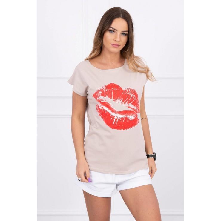Dámske tričko s potlačou pier béžové