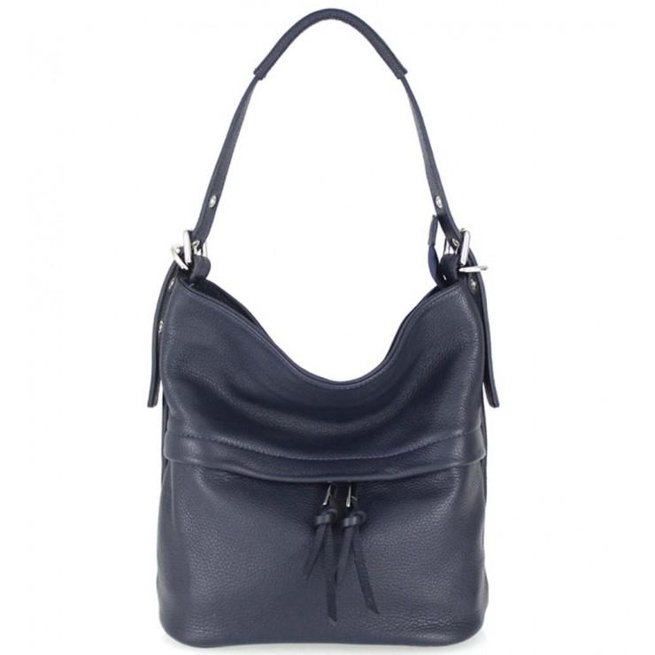 Tmavě modrá kožená kabelka na rameno 631