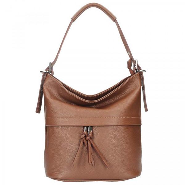 Hnedá kožená kabelka na rameno 631