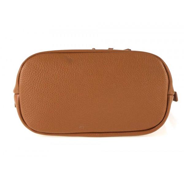 Hnedá kožená kabelka na rameno 631 Made in Italy Hnedá