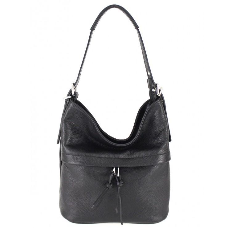 Černá kožená kabelka na rameno 631