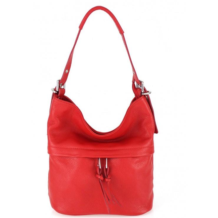 Rudá kožená kabelka na rameno 631