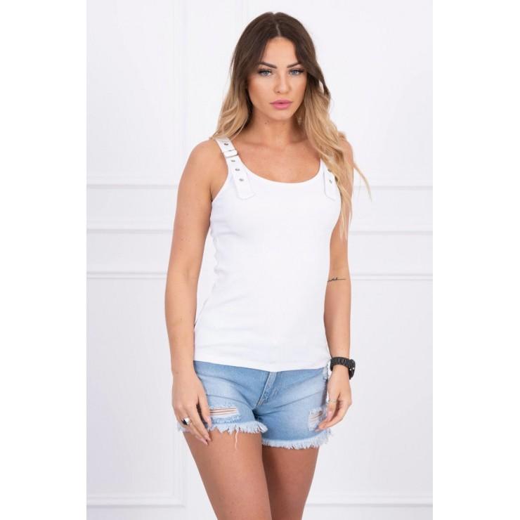 Dámske tričko s popruhmi biele
