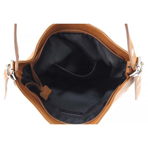 Okrová kožená kabelka na rameno 631
