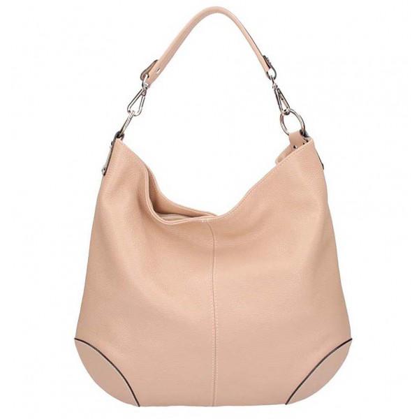 Ružová kožená kabelka na rameno 204