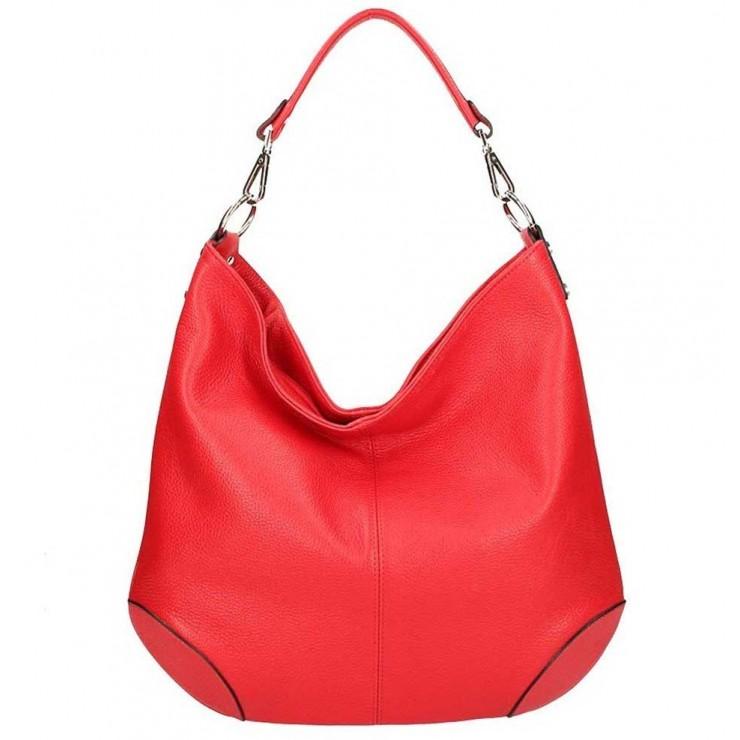 Červená kožená kabelka na rameno 204