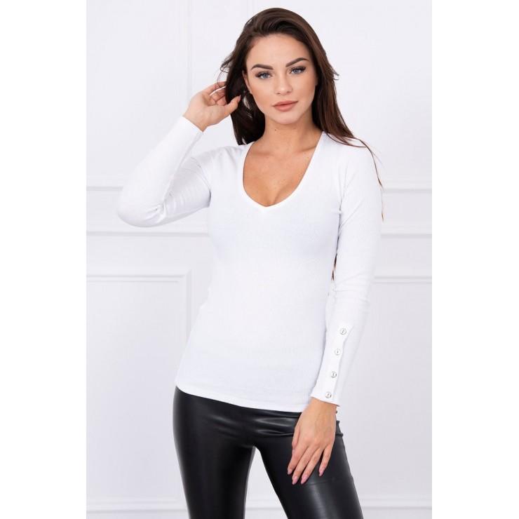 Tričko s ozdobnými gombíkmi na rukávoch MI5067 biele